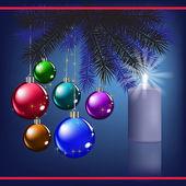 与装饰和蓝色蜡烛的圣诞祝福 — 图库矢量图片