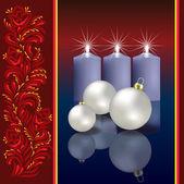 Jul hälsning med dekoration och blått ljus — Stockvektor