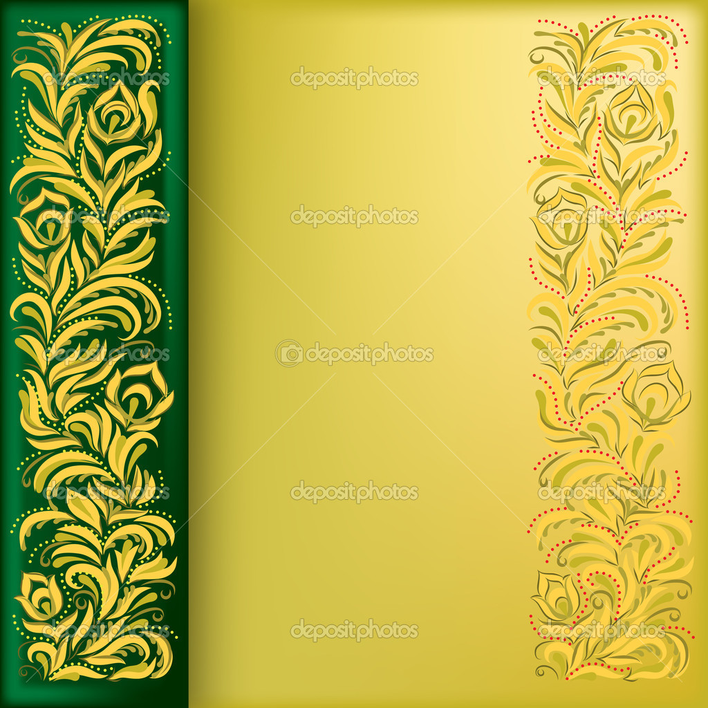 Abstract background with golden floral ornament on green — Stock Vector #4227828