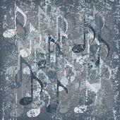 抽象的なひびの入った背景のグレー音符 — ストックベクタ