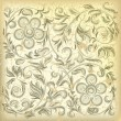 Abstract beige background with cracked floral ornament - Stock Vector