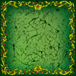 Abstract cracked green background with floral ornament - Stockvectorbeeld