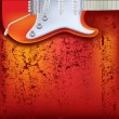 Abstract red cracked background electric guitar — Stock Vector