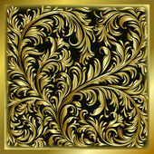 Abstract background with gold floral ornament — Stock Vector