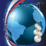 Christmas greeting blue globe on dark — Stock Vector #4412213