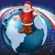 Christmas greeting Santa Claus on globe — Stock Vector #4412264
