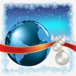 Christmas white balls with globe on blue — Stock Vector #4412310
