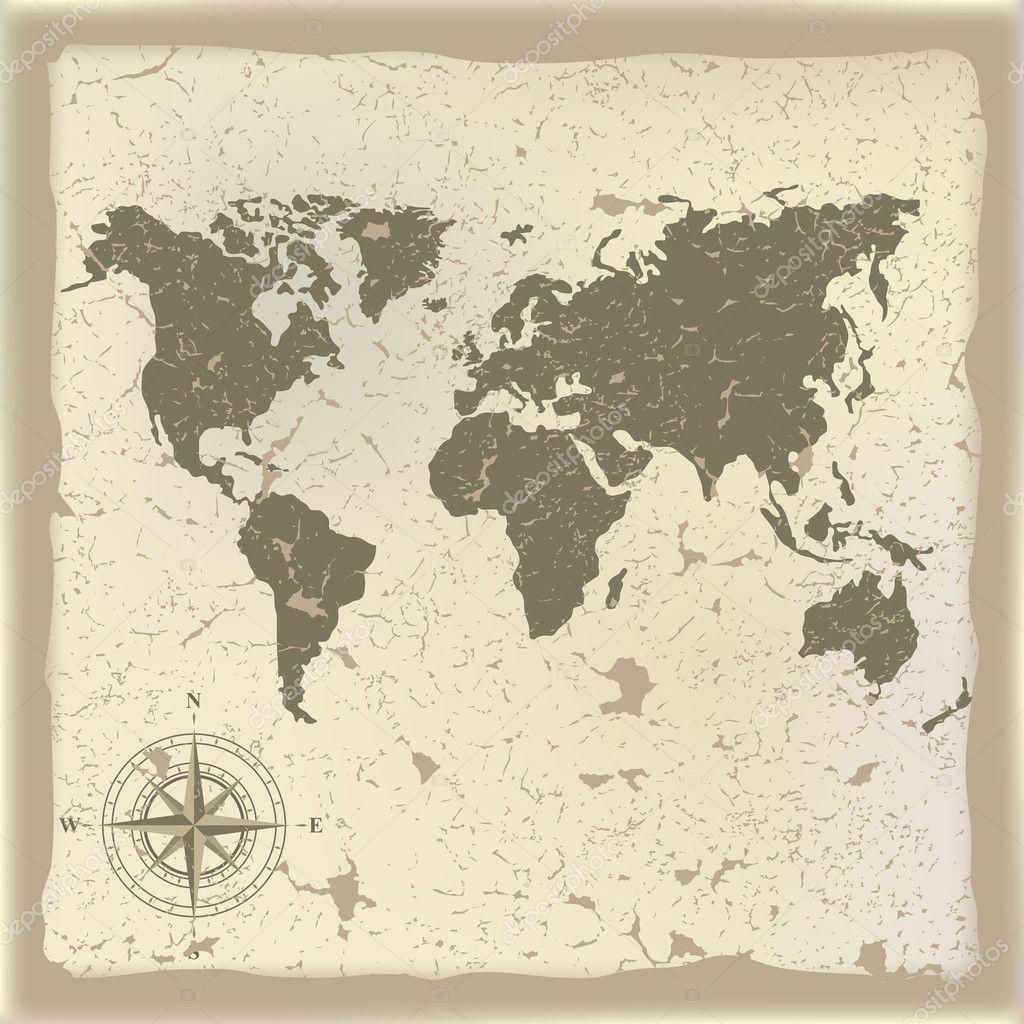 抽象背景与古代地图和指南针