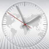 šedá hodiny na pozadí mapy světa — Stock vektor
