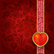 Valentines greeting with red heart - 