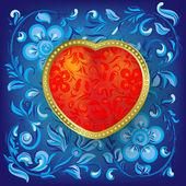 Kırmızı kalp ile tebrik sevgililer — Stok Vektör