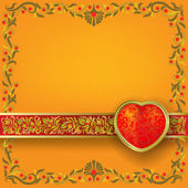 Valentines greeting with red heart — Vettoriale Stock