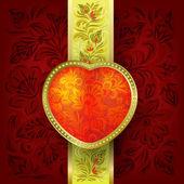San valentín saludo con corazón rojo — Vector de stock
