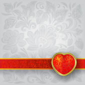 Valentines greeting with red heart — Vector de stock