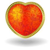 Rood hart met rode bloemen ornament — Stockvector