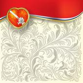 Kalp ve beyaz papyon ile tebrik sevgililer — Stok Vektör