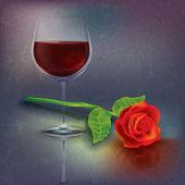 Illustrazione grunge astratto con bicchiere da vino — Vettoriale Stock