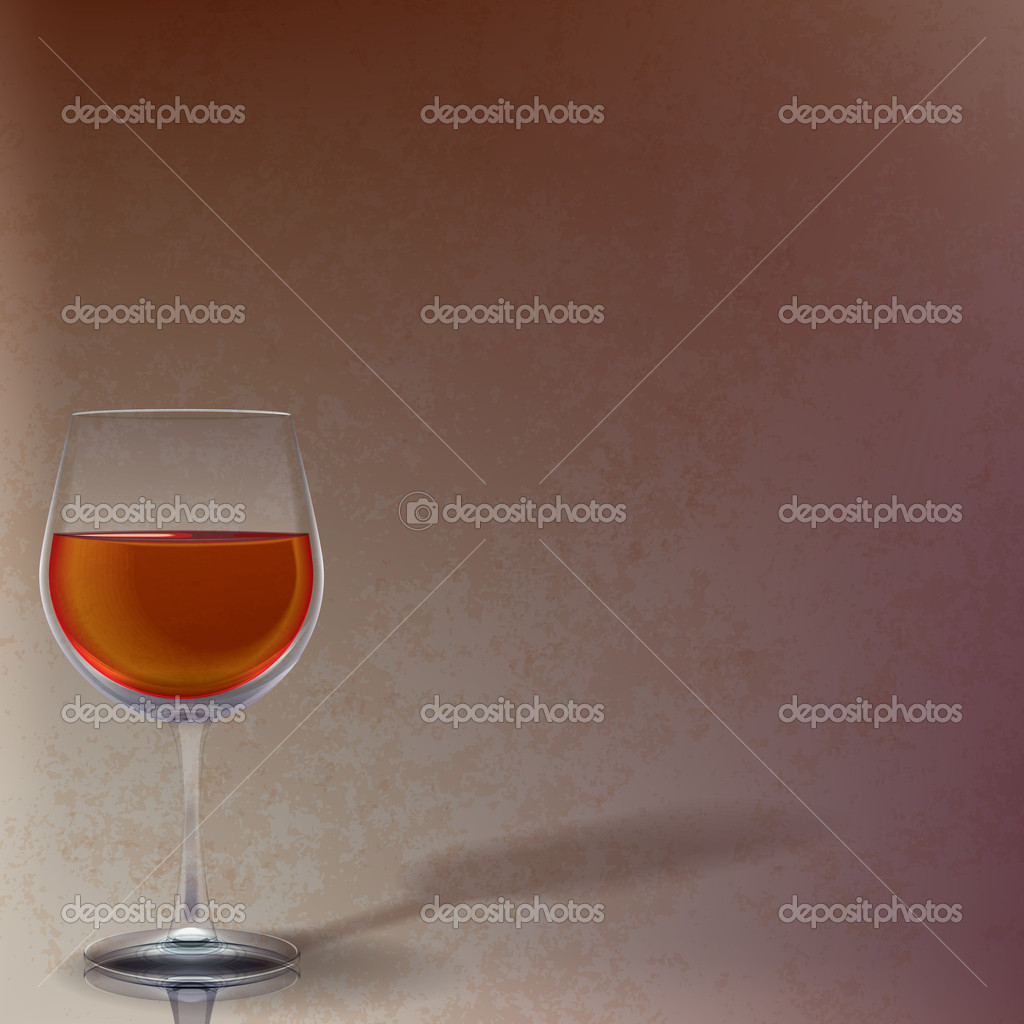 Abstract illustration with wineglass on brown background  Stock Vector #5281484