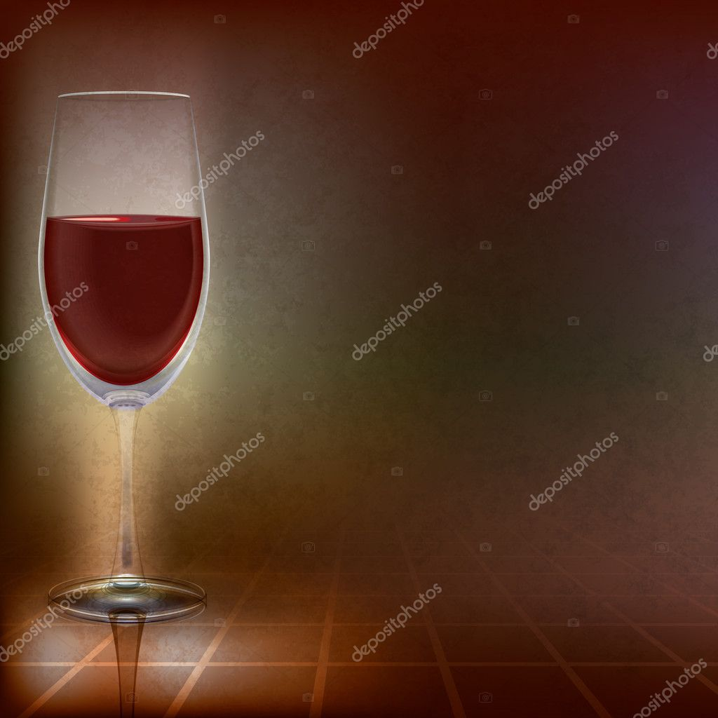Abstract illustration with wineglass on dark background  Stock Vector #5281492