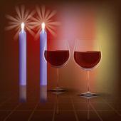 Abstract Illustration mit Kerzen und Weinglas auf dunkel — Stockvektor