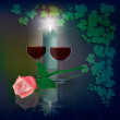 Abstract illustration with wineglasses and candle -  