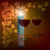 Abstract Illustration mit Kerzen und Weinglas auf rot — Stockvektor