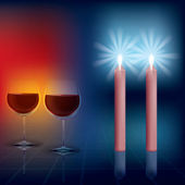 Abstract illustration with candles and wineglass on dark — Stock Vector