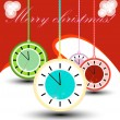 Stock Vector: Christmas clock