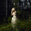 Girl in fairy forest — Stockfoto