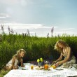 Mom and daughter at a picnic — Stock Photo