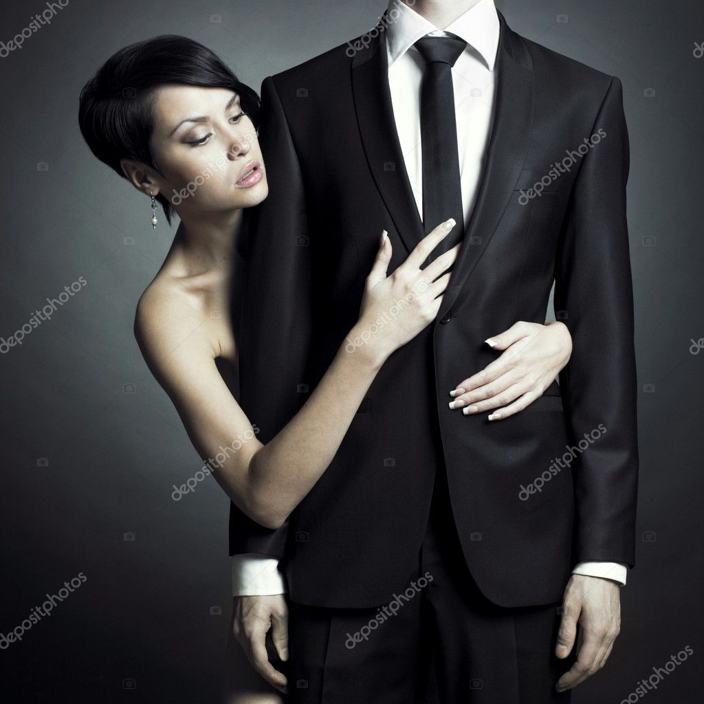 Portrait of young elegant couples in the tender passion — Stok fotoğraf #4304503