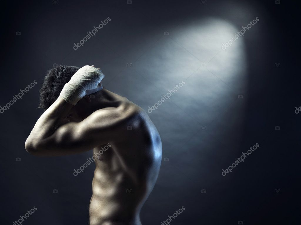 Poto of naked athlete with strong body — Stock Photo #4802761
