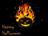 Burning pumpkin — Stock Vector