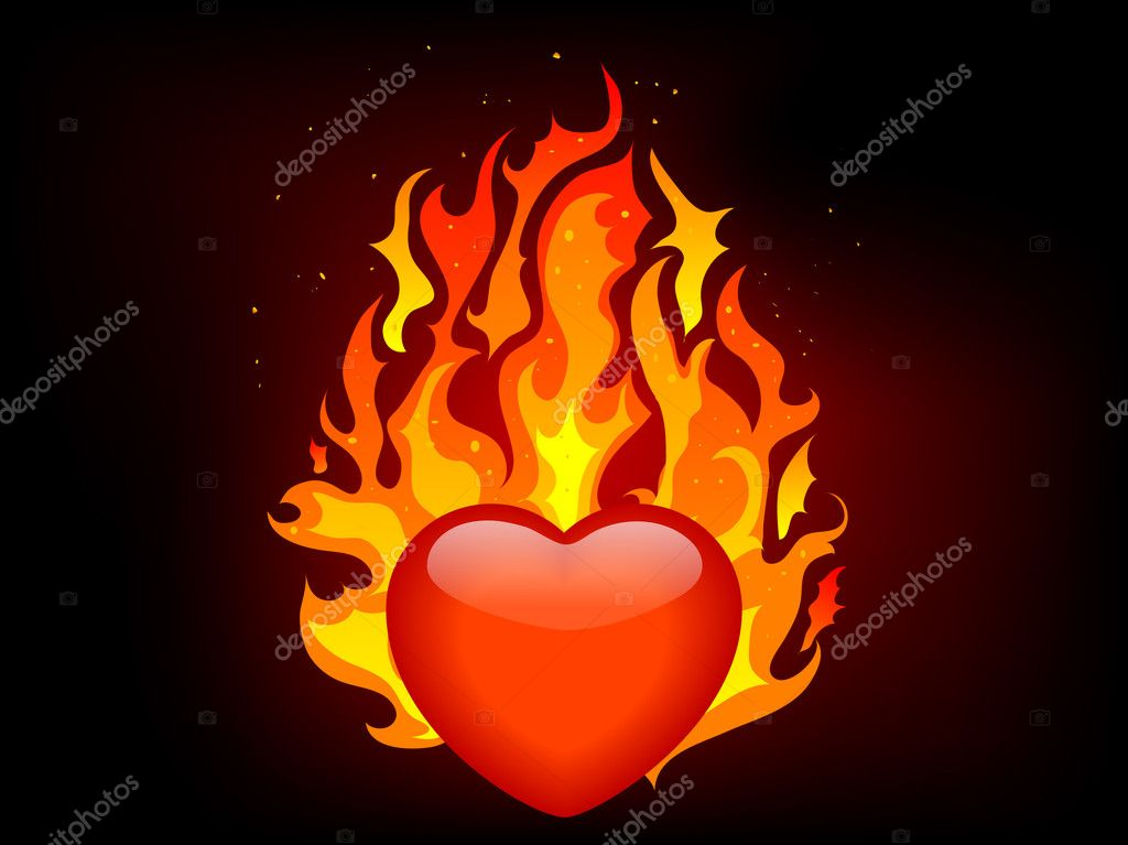 Blazing red heart - vector illustration — Stock Vector #3993525