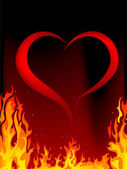 Blazing heart — Stockvector