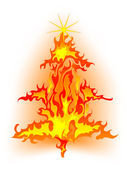 Burning christmas tree — Stock Vector