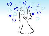 Líbání Svatební pár — Stock vektor