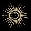 Vector de stock : Black and gold New Year clock