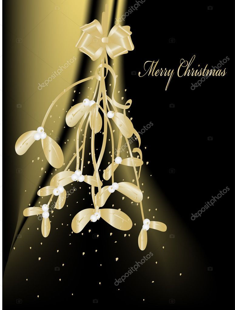 Christmas golden mistletoe - vector illustration — Stock Vector #4171585