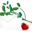 Mistletoe with heart — Stock Vector