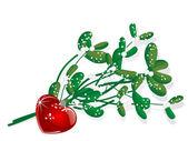 Snowy mistletoe — Stock Vector