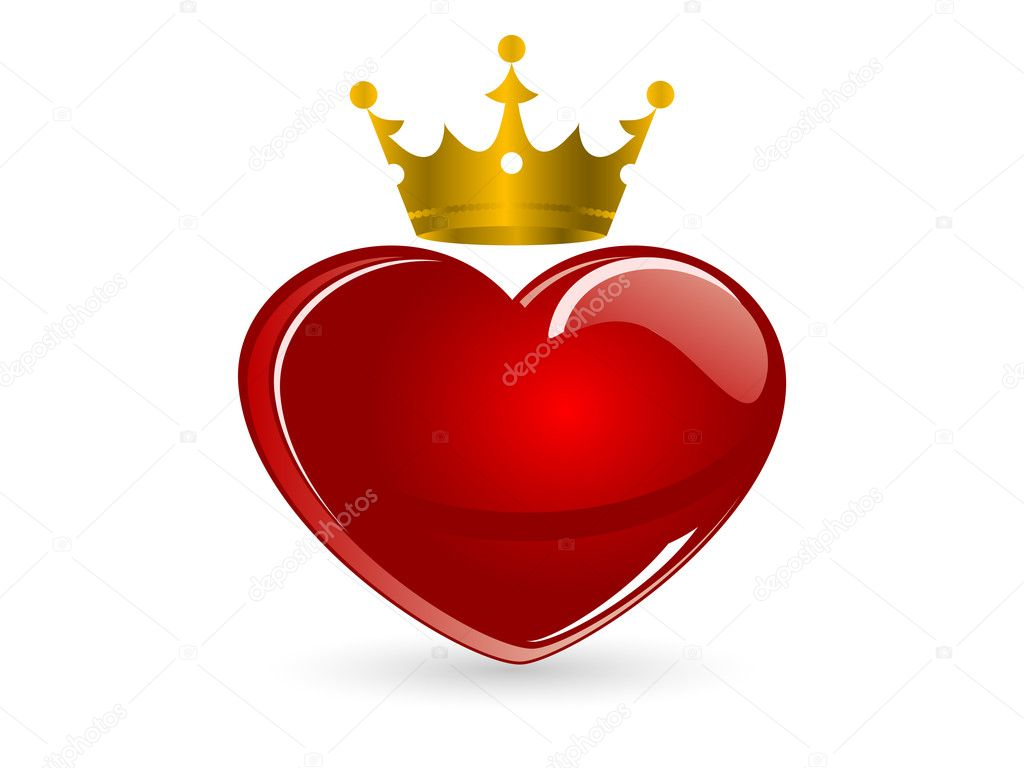 Red glass heart with crown  Stock Vector #4442080