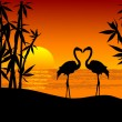 Royalty-Free Stock Imagen vectorial: Two flamingos