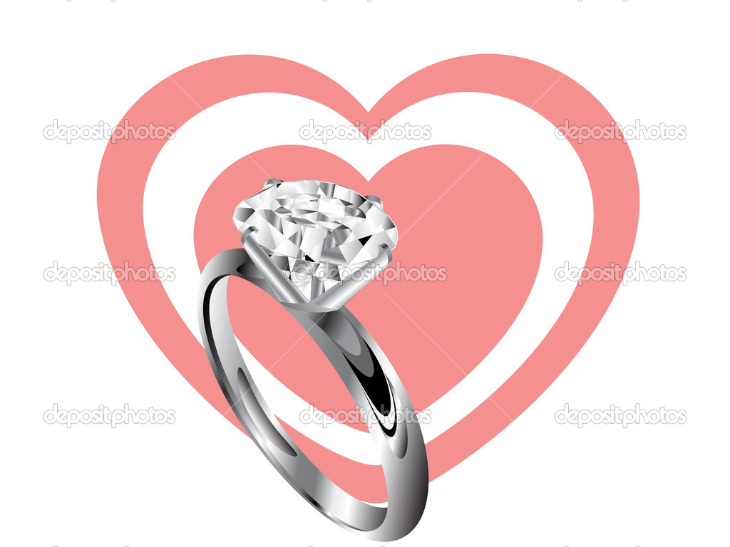 Diamond ring and two rose hearts — Stock Vector #4731630