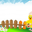 Chick and fence — Stock Vector