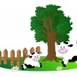 Tree and cows — Stock Vector