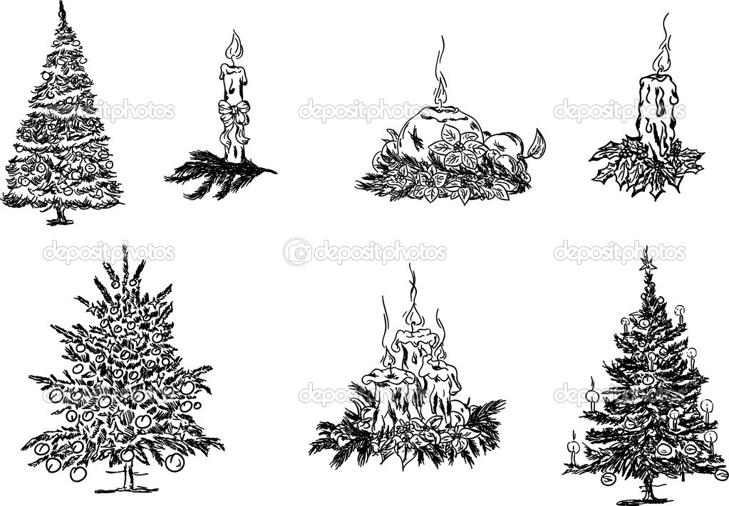 Vector -  a set of christmas trees and candles — Stock Vector #4208152