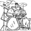 Drummer playing — Stock Vector #4925013