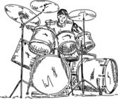 Drummer playing — Stock Vector