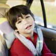 Stock Photo: Four year old disabled boy in carseat